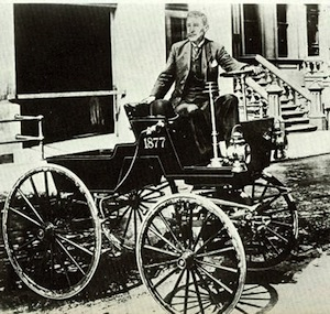 George Selden on the Selden Motor Wagon